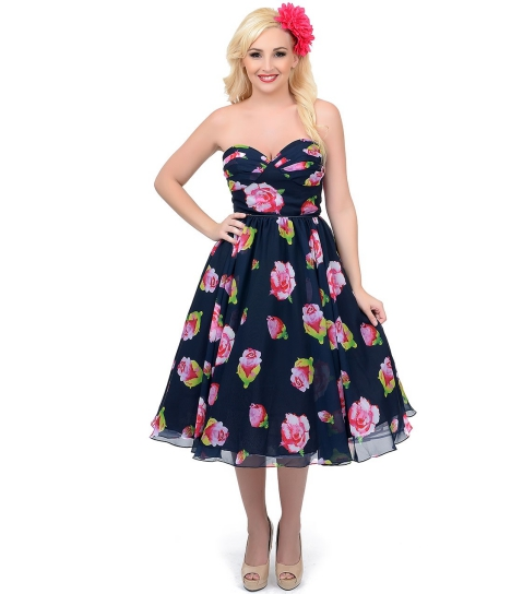 nZYl0dlodh_Unique_Vintage_Navy_Floral_Dandridge_Strapless_Swing_Dress